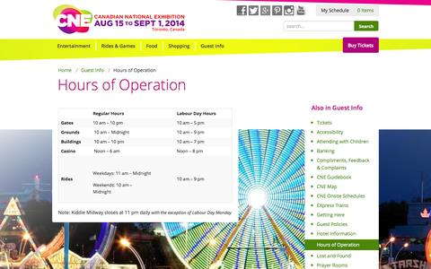 Screenshot of Hours Page theex.com - Hours of Operation - captured Sept. 25, 2014