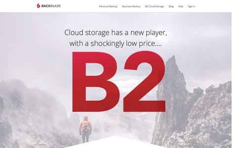 Screenshot of Home Page backblaze.com - The Best Unlimited Online Backup and Cloud Storage Services - captured Oct. 2, 2015