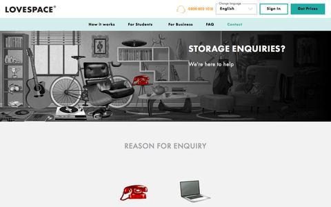 Screenshot of Contact Page lovespace.co.uk - Storage Enquiries? Contact Us For A Quote | LOVESPACE - captured Aug. 21, 2019