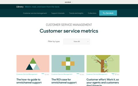 Screenshot of Support Page zendesk.com - Customer service metrics | Zendesk Library - captured Aug. 4, 2018