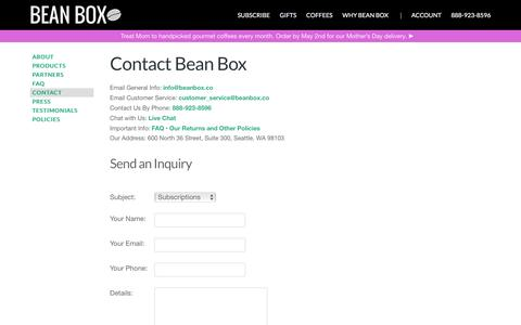 Screenshot of Contact Page beanbox.co - Contact Us | Bean Box - captured April 14, 2016