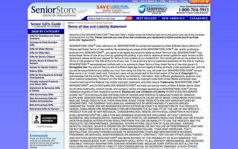 Screenshot of Terms Page seniorstore.com - Terms of Use and Liability Statement - captured Oct. 7, 2014