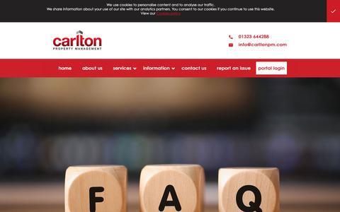 Screenshot of FAQ Page carltonpm.com - FAQs - captured Sept. 27, 2018