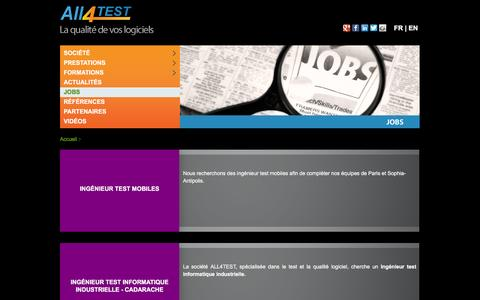 Screenshot of Jobs Page all4test.fr - Jobs - All4Test - captured March 4, 2016