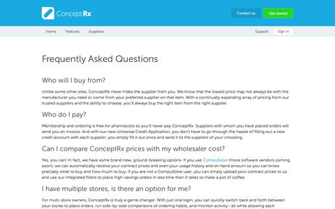 Screenshot of FAQ Page conceptrx.com - FAQ - ConceptRx: Purchase Generic Drugs, Compare Prices, Save - captured Sept. 30, 2014