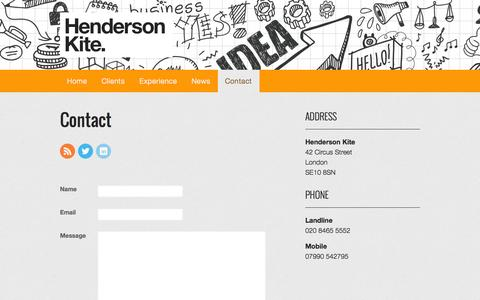 Screenshot of Contact Page wpengine.com - Contact | Henderson Kite - captured Oct. 28, 2014