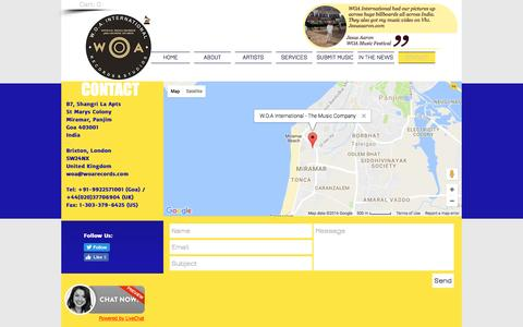 Screenshot of Contact Page woarecords.com - Contact WOA International and WOA Records - captured Dec. 3, 2016