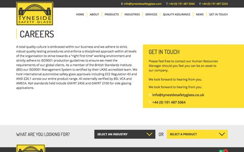 Screenshot of Jobs Page tynesidesafetyglass.com - Interested In A Career With Us? - captured Sept. 21, 2018