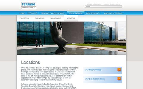Screenshot of Locations Page ferring.com - Locations - Ferring Corporate Website - captured Dec. 6, 2016
