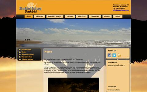 Screenshot of Home Page degolfslag.com - Beachclub De Golfslag Wassenaar - captured Jan. 28, 2015