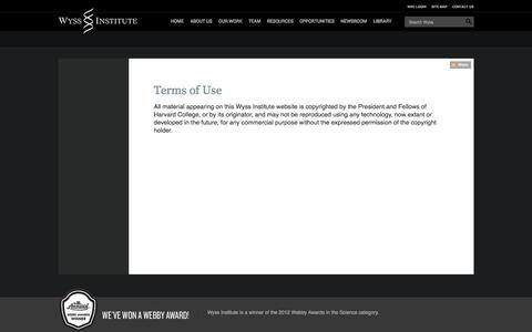 Screenshot of Terms Page harvard.edu - Terms of Use : Wyss Institute at Harvard - captured Sept. 13, 2014