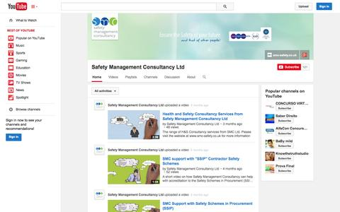 Screenshot of YouTube Page youtube.com - Safety Management Consultancy Ltd  - YouTube - captured Oct. 23, 2014