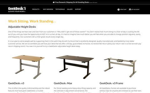 Screenshot of Products Page geekdesk.com - Adjustable Height Desks | GeekDesk® - captured June 23, 2017
