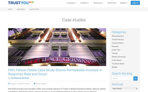 Screenshot of Case Studies Page trustyou.com - Case studies Archives · TrustYou - captured Sept. 6, 2016