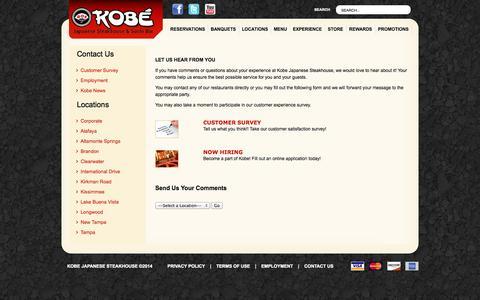 Screenshot of Contact Page kobesteakhouse.com - Contact Us - Kobe Japanese Steakhouse - captured Sept. 23, 2014
