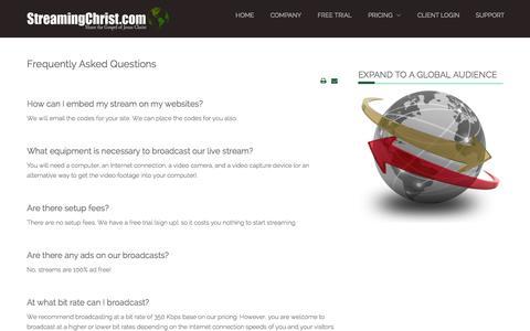 Screenshot of FAQ Page streamingchrist.com - FAQ - captured Oct. 7, 2014