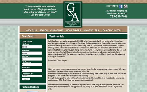 Screenshot of Testimonials Page gandarealestate.com - Testimonials - G&A Real Estate, Inc. - captured Oct. 1, 2014