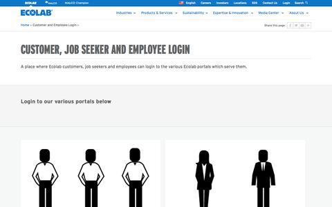 Screenshot of Login Page ecolab.com - Customer, Job Seeker and Employee Login | Ecolab - captured Sept. 30, 2014