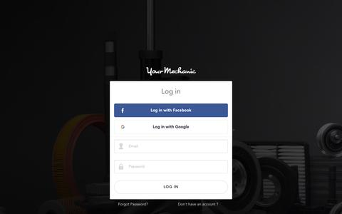 Screenshot of Login Page yourmechanic.com - YourMechanic   Auto Repair at Your Home or Office - captured June 26, 2016