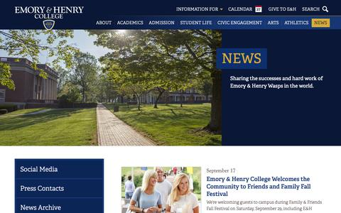 Screenshot of Press Page ehc.edu - News  • Emory & Henry - captured Sept. 28, 2018