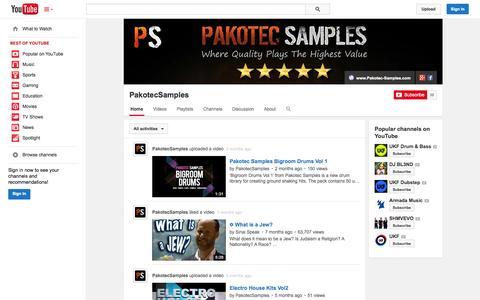Screenshot of YouTube Page youtube.com - PakotecSamples  - YouTube - captured Oct. 22, 2014