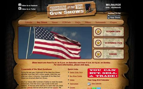Screenshot of Home Page crossroadsgunshows.com - Crossroads of the West Gunshows - captured Sept. 16, 2015