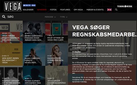 Screenshot of Press Page vega.dk - VEGA søger regnskabsmedarbejder - VEGA   Musikkens hus - captured Nov. 30, 2017