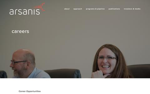 Screenshot of Jobs Page arsanis.com - careers – Arsanis - captured Oct. 19, 2018