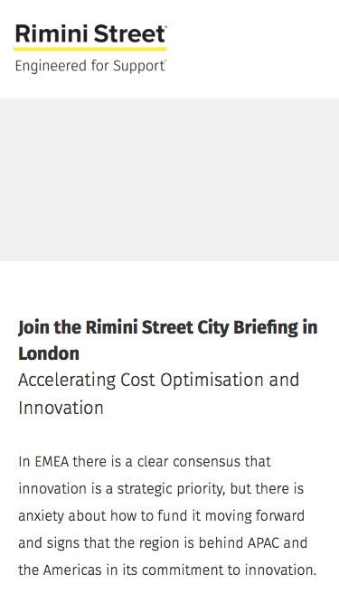 Join the Rimini Street City Briefing in London
