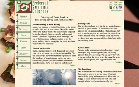 Screenshot of Services Page sonomacaterers.com - Catering and Event Services - Preferred Sonoma Caterers - captured Sept. 29, 2018