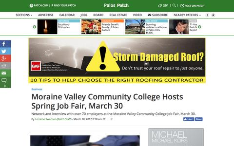 Screenshot of patch.com - Moraine Valley Community College Hosts Spring Job Fair, March 30 - Palos, IL Patch - captured March 28, 2017