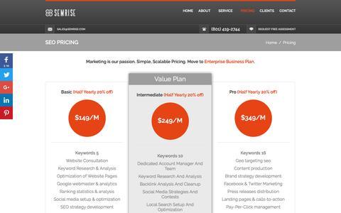 Screenshot of Pricing Page semrise.com - Digital Marketing Pricing - captured July 20, 2016