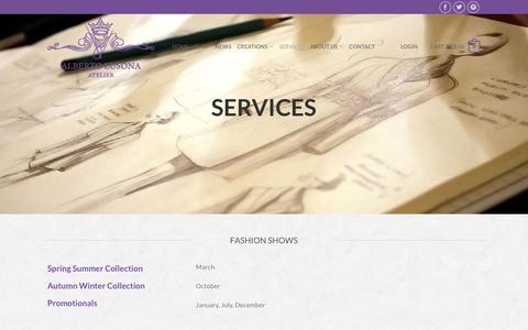 Screenshot of Services Page albertolusona.com - Services - Atelier Alberto Lusona - Cloche Hats for Women - captured Oct. 4, 2018