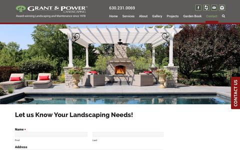 Screenshot of Contact Page grantandpower.com - Let us Know Your Landscaping Needs! – Grant & Power Landscaping - captured Sept. 29, 2018