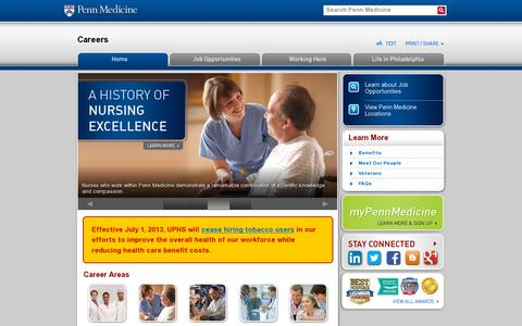 Screenshot of Jobs Page pennmedicine.org - Careers  | Penn Medicine - captured July 19, 2014