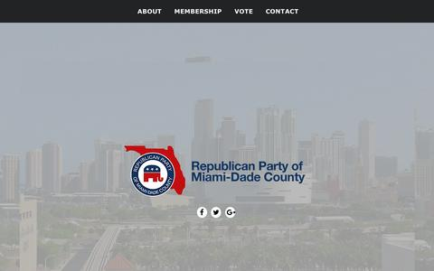 Screenshot of Home Page miamidadegop.org - Republican Party of Miami-Dade County – Online Digital Hub For The Republican Party of Miami-Dade County! - captured Aug. 10, 2016