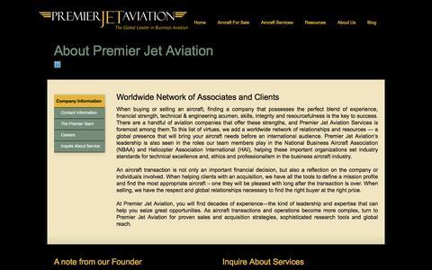Screenshot of About Page jetav.com - Premier Jet Aviation | About Us - captured Jan. 30, 2016