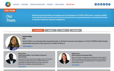 Screenshot of Team Page pyxeraglobal.org - Our Team - PYXERA Global - captured Sept. 30, 2014