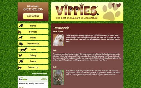 Screenshot of Testimonials Page vipslincoln.co.uk - Testimonials - Vippies - captured Oct. 7, 2014