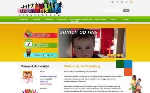 Screenshot of Home Page ontdekking.net - KINDCENTRUM De Ontdekking - Oosterhout (nb) Samen op reis - captured Oct. 4, 2014