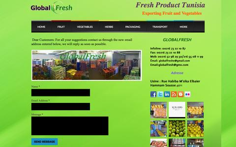 Screenshot of Contact Page webs.com - fruit and vegetables Tunisia - Contact - captured Sept. 13, 2014