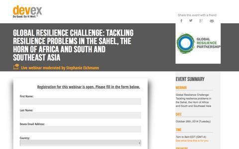 Screenshot of Landing Page devex.com - Global Resilience Challenge - Devex Webinar - captured June 30, 2016