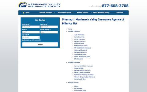 Screenshot of Site Map Page mvins.com - Sitemap | Merrimack Valley Insurance Agency of Billerica MA - captured Oct. 27, 2014