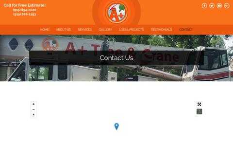 Screenshot of Contact Page aplustrees.com - Call (919) 854-0020 for Tree Service Estimates in Raleigh Triangle - captured Dec. 16, 2018