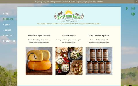 Screenshot of Products Page dayspringdairy.com - Products — Dayspring Dairy, Sheep Milk Cheese & Caramel - captured Oct. 8, 2018