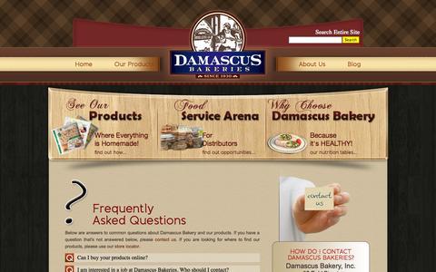 Screenshot of FAQ Page damascusbakery.com - FAQs Archive - Damascus Bakeries - captured Sept. 30, 2014