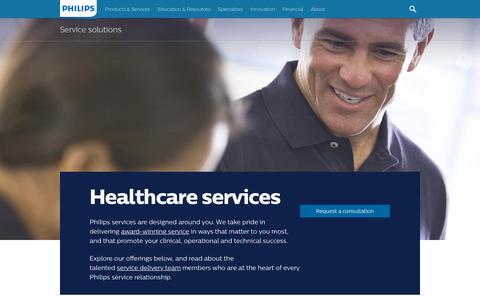 Screenshot of Services Page philips.com - Service solutions | Philips Healthcare - captured Oct. 6, 2018
