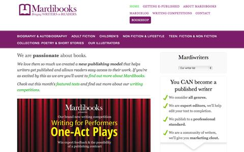 Screenshot of Home Page mardibooks.com - book publishers, editors, proof-readers | Mardibooks - captured Sept. 30, 2014