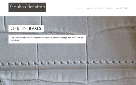 Screenshot of Home Page theshoulderstrap.com - The Shoulder Strap - captured Jan. 11, 2016