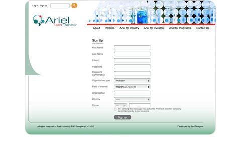 Screenshot of Signup Page arielrnd.com captured Oct. 4, 2014